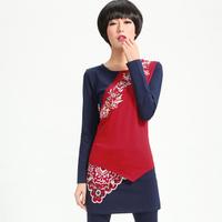 National 8077 trend irregular sweep embroidered color block slim long-sleeve T-shirt basic shirt