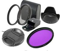 58mm UV+CPL+FLD Lens Filter+lens cap+len hood for canon nikon pentax sony camera
