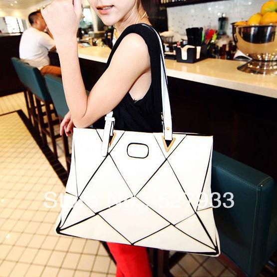 New summer female temperament high-grade personality splicing water cube bag fashion handbags(China (Mainland))