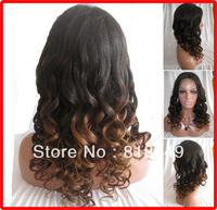 """AAAAA 2013 New Style Fashion wig :18"""" #1bt4 curly 180% density Indian remy Hair lace front wig --Long Wigs"""