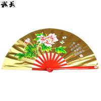 Gold peony kung fu fan tai chi fan full bamboo fan rib tai chi kung fu fan double fan