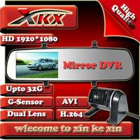 New Dual Lens 4.2Inch Rearview Full HD1280*720 25FPS 5.0MP Car Recorder DVR Black Box Video Cmaera + Genssor FreeShipping X16