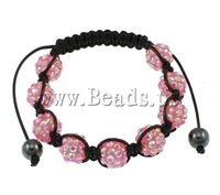 Free shipping!!!Resin Shamballa Bracelets,Wedding Jewelry, with Wax Cord, handmade, with rhinestone, pink, 10x12mm
