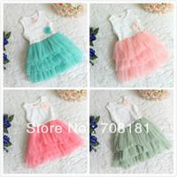 Hot selling New Baby girl's clothing children's dresses Princess vest Lace Tank Dress TUTU cute flower cake dresses 4 colors