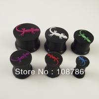 72pcs mixed 6 gauges ear expander lizard logo Solid black silicone ear plug flesh tunnel body piercing jewelry free shipping