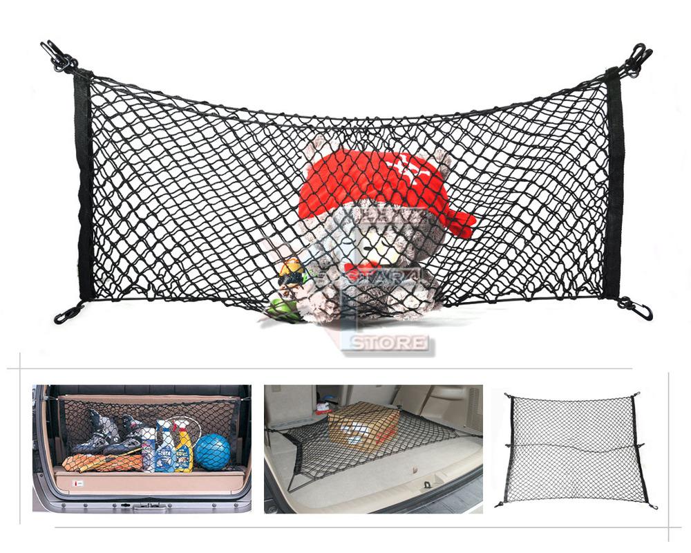 Free shipping & Tracking # Elastic Nylon Car Rear Cargo Trunk Storage Organizer Net with Velcro 90x115cm - CA01322(China (Mainland))