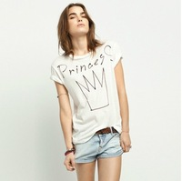 Free shipping 2014 Spring and summer fashion princess letter print t-shirt white pattern t-shirt tops new arrvial