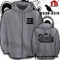 EminemThickening zipper sweatshirt eminem hoodie shady e loose hiphop flock printing cardigan hoodies