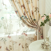 Quality living room curtain fashion exquisite rustic embroidered curtain window screening finished product