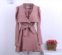 Женская одежда из шерсти S M L XL Women's Trench Coat Woolen OL Autumn Winter Overcoat Outerwear Stand Collar Single Breast OL WC0020