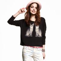 Fashion 2014 Women's Sparkling print decoration black cotton long-sleeve t-shirt female XS-XXL Size