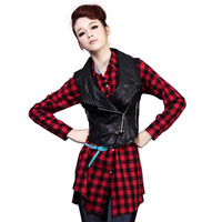 free shipping Leather clothing 2013 spring and autumn outerwear short design vest slim PU clothing female jacket 1160