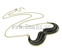 Free shipping!!! Trendy Iron 5.5cm extender chain Black Mustache gold color plated enamel Pendant Zinc Alloy Jewelry Necklaces