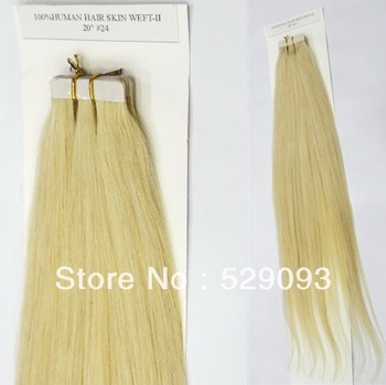 PU Skin Tape Weft 100% Brazilian Human Hair Extension 20'' 24# Light Golden Blonde 50g/20pcs/pack Straight Free Shipping
