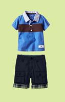Little Kids Summer Clothing Suit 2 Pcs Cotton T Shirt And Pants 2 Colors Blue And Brown Child Clothes Sets Baby CS30626-51R^^EI
