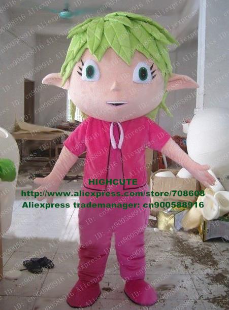 Green Hair Boy Mascot Costume Leaf Foliage Leafage Greenery Cartoon Character No.2815 Free Shipping(China (Mainland))