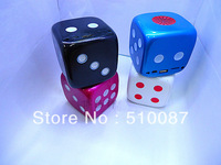 30pcs/lot New Dice mini speaker support TF card/U-disk/FM radio, mini portable audio player mp3 player Freeshipping