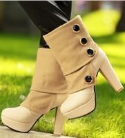 Free shipping button fashion boots for women shoes woman 2013 ladies high heels platform pumps big size Eur32-43 CSXX35007