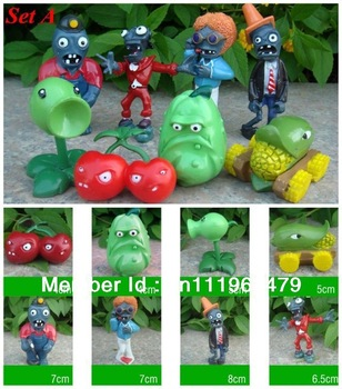 Free shipping New 8pc Plants vs Zombies Figures Boys Girls Toys Game Figurines PVC Dolls Collections Car Ornaments