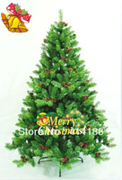 2014 free shipping 210cm PVC festival & party artificial decorations Xmas tree decorative pinecone + red fruit christmas trees