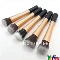 Free Shipping 5pcs/set Gold Cosmetic Stipple Fiber Powder Blush Brush Foundation Makeup Tool KX159-2#