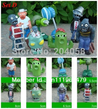 Free shipping New 8pc Plants vs Zombies Figures Boys Girls Toys Game Collections Car Ornaments PVC Figurines Dolls Set D