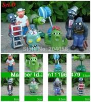 Free shipping New 8pc Plants vs Zombies Figures Kids Toys PVC Figurines Vinyl Dolls Pirate Pea Snow watermelo Set D