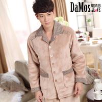 hot sell Sleepwear male winter coral fleece sleepwear mons long-sleeve casual lounge thickening of luxury sleep set