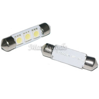 Free Shipping 2 PCS  38mm 0.6W 12~18V 6500K 60LM 3-SMD LED Reading Lamp/Boot Lamp White Light Bulbs