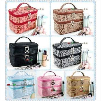Double Layered character Women Zipper Cosmetic Case Bag Makeup Purse drop shipping