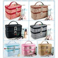 Double Layered character Women Zipper Cosmetic Case Bag Makeup Purse drop shipping