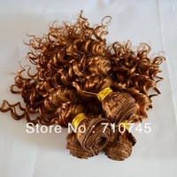 Wholesale 10inch 4pcs/lot Deep curl hair 200g one full head Top Quality Beauty Fashion Remy Brazilian Two Tone Hair Extension