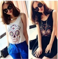 Hot Sale 2 Colors Women European Fashion Flower Skull Head Sleeveless Shirt Vest WF-099