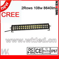 New design cree 3w 18'' 108w 8640lm off road,4x4,motor ,jeep light bar