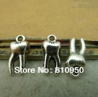 Free Shipping 120pcs 5*8*16mm Metal/Alloy Antique Silver teeth Charms Pendant DIY Jewelry connection Setting Findings