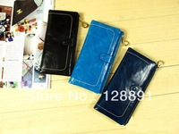 2012 style 100% Genuine Leather oil wax skin women's Long section of the multi-card wallet Christmas gifts 6173#