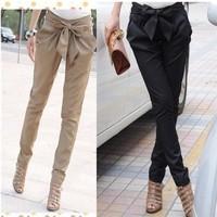 2014 High Waist Trousers OL Casual Bow harem Pants Plus Size XL Black Khaki
