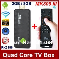 MK809 III Android 4.2 TV Box Mini PC Quad Core RK3188 1.6GHz 2GB RAM 8GB ROM Bluetooth HDMI TV Stick + Free Mele F10 Fly Mouse