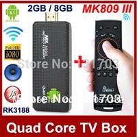 MK809 III Android 4.2 TV Box Mini PC Quad Core RK3188 1.6GHz 2GB RAM 8GB ROM Bluetooth HDMI TV Stick + Free Mele F10 Fly Mouse