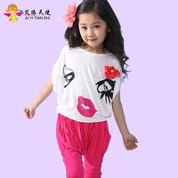 Female child 2013 summer child lips t-shirt l twinset set batwing shirt harem pants set