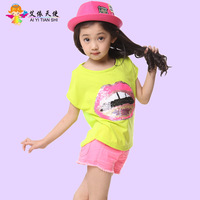 Children's clothing 2013 female child summer o-neck solid color casual t-shirt