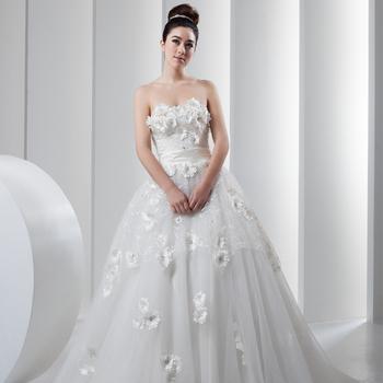 Sweet princess wedding dress tube top lace flower short trailing wedding dress