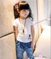 Female child top fishing net skull personalized short-sleeve T-shirt basic shirt female child t-shirt