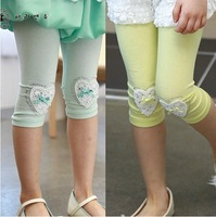2013 summer female child heart pattern diamond princess all-match children's legging pants female child capris