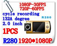 "Car DVR Recorder R280 , Car Black Box With 2.0"" TFT LCD + Full HD 1080P 30FPS + HDMI + H.264 + Motion Detection + Free Shipping"