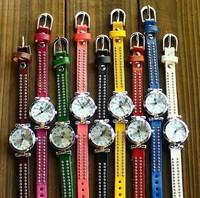 Free shipping 2013 new items wholesale rivets bracelets for women fashion belt automatic watch ladies quartz watch