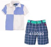 New arrival Free shipping baby boys T-shirt sets polo style 2pcs/set(T-shirt+pants)short sleeve kids T-shirt sets children  wear