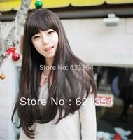 Black/Dark brown/Light brown  Fluffy Wavy Hair,Fashion Full Wig with Hairnet