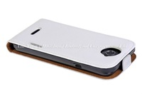 Free Shipping High quality Cow Skin White Leatger Flip Pouch Case For HTC one X