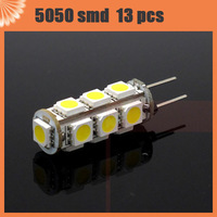 10pcs/lot G4 LED 13 LEDs 5050 SMD DC 12V Warm White/Cool White Light Bulbs Lamps Free   Shipping